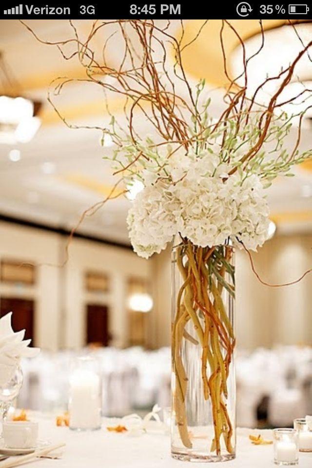 Hydrangea curly willow centerpiece google search for Pinterest tischdeko
