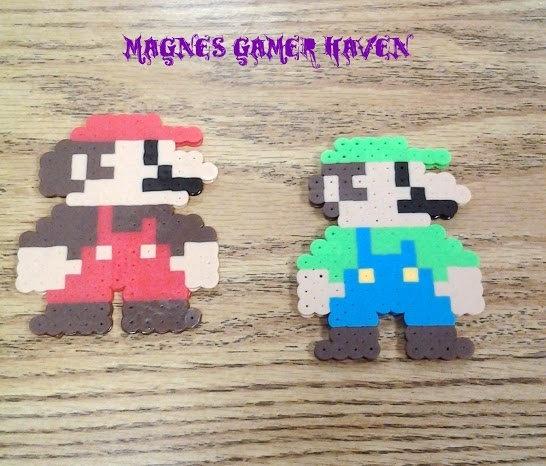 Super Mario Brother's Perler Bead Mario and Luigi. $6.00, via Etsy.