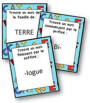 U n nouveau jeu pour travailler en vocabulaire sur les familles de mots, préfixes et suffixes . Le principe est le même que dans le jeu Shabada. On pioche une carte consigne. Il s'agira soit : -...