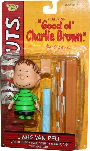LINUS VAN PELT (GREEN SHIRT & CLASSIC EYES CLOSED SMILE EXPRESSION) with Philosophy Book Security B @ niftywarehouse.com #NiftyWarehouse #Peanuts #CharlieBrown #Comics #Gifts #Products