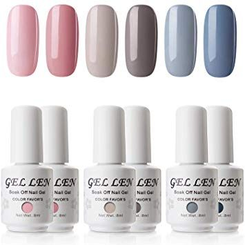 Gellen Gel Nail Polish Set Grace Grays Of Pinks Grays Blues The Plain Charm Series 8ml Nail Gel Art Kit In 2020 Gel Nails Nail Polish Gel Nail Polish Set