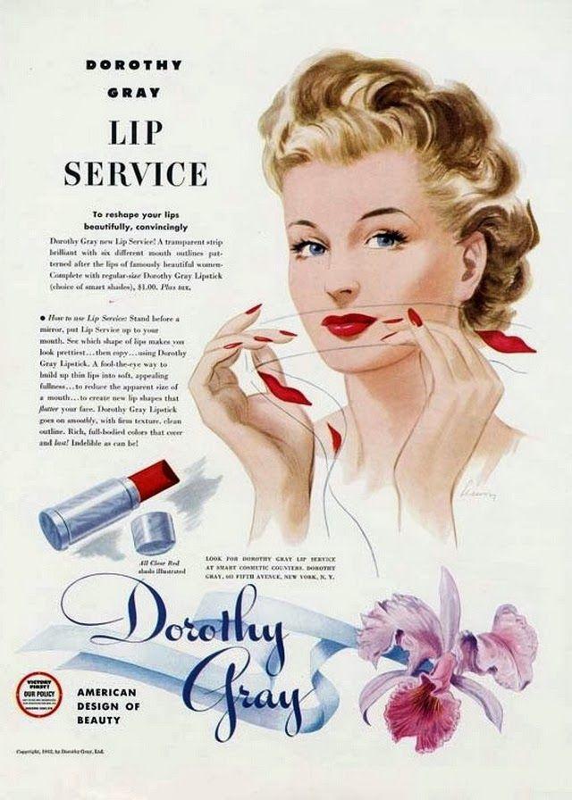 Dorothy Gray Lip Service 1940s makeup advertisement