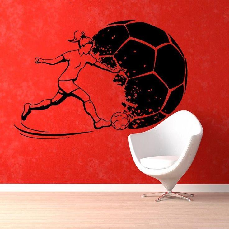 Wall Decals Girl Football Soccer Sport Gym Vinyl Sticker Murals Wall Decor KG78