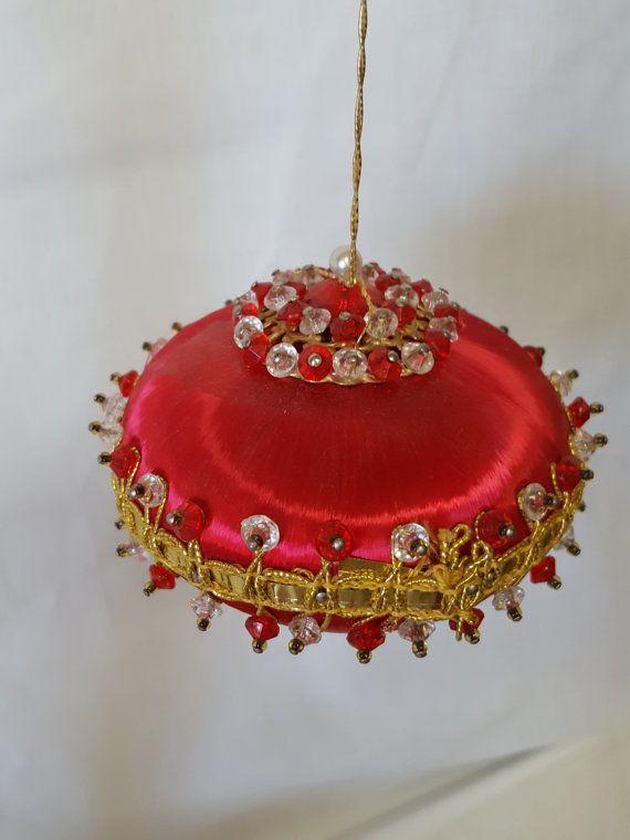 Abalorios Navidad satén satén rojo con cristales