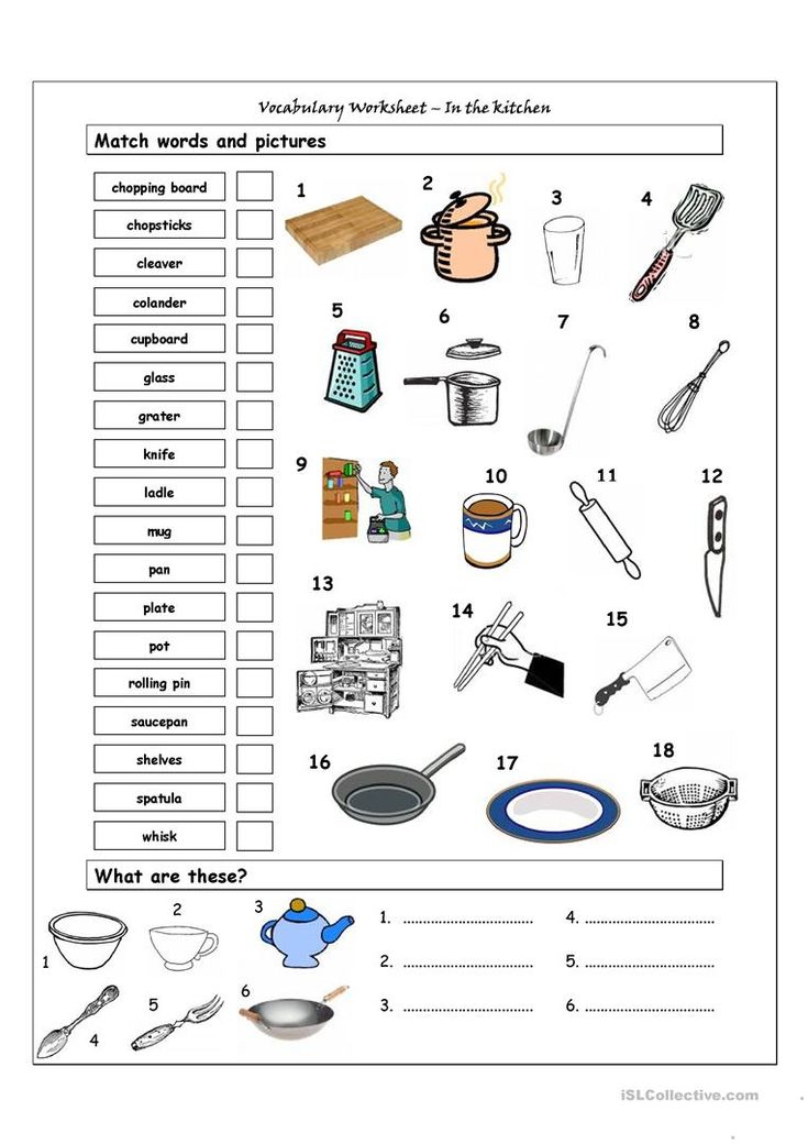 Vocabulary Matching Worksheet In the kitchen worksheet