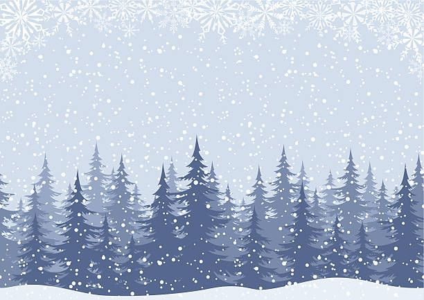 Winter Woodland Landscape With Spruce Fir Trees And Snowflakes White Winter Landscape Christmas Graphic Design Seamless Background