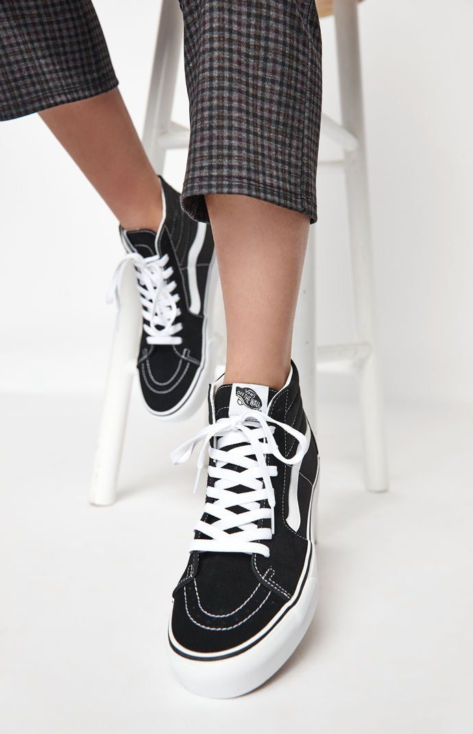 6f7d4f849f21b8 Vans Women s Black and White Sk8-Hi Platform Sneakers at PacSun.com ...