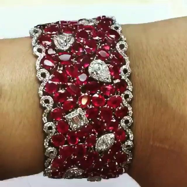 AMAZING!!! ❤️ #Ruby and #Diamond Cuff Bracelet by @sescreations…