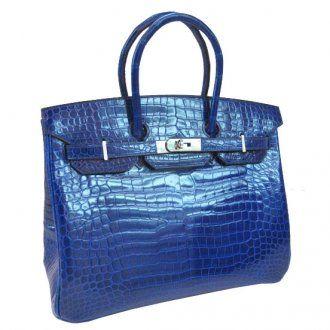 Hermes Birkin 35cm Blue Sapphire Crocodile Silver Hardware