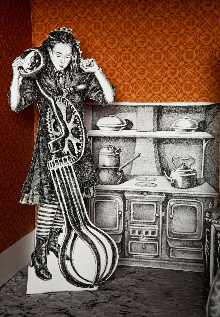 """Jennifer Linton, """"The Disobedient Dollhouse"""", 2009-10. lithographs, digital prints, paper, wood, paint, insect pins."""