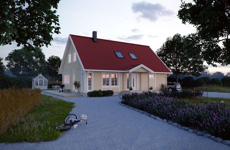 I Villa Gränna är alla rum rejält tilltagna. Köket är dock huset största rum, här kan hela familjen laga mat samt bjuda in till stora middagar. Önskas mer arbetsyta får en köksö med enkelhet plats. Hela huset är 155,7 m2 stort, fördelat på 1,5 plan som totalt kan rymma 9 rum. Övervåningen inreder ni nu eller när det passar er. #smålandsvillan #villagränna #hus #bygganytt #nybyggnation #inspiration #hustillverkare
