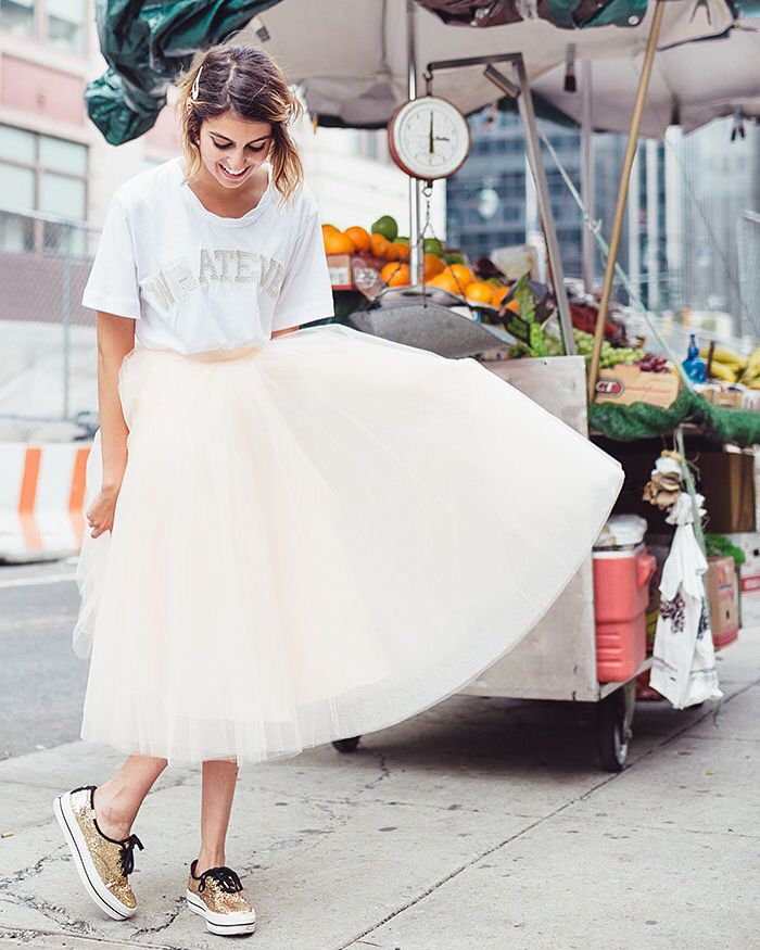 Twirl at the farmer's market, every day tulle skirt, Space 46 , sneakers and tulle