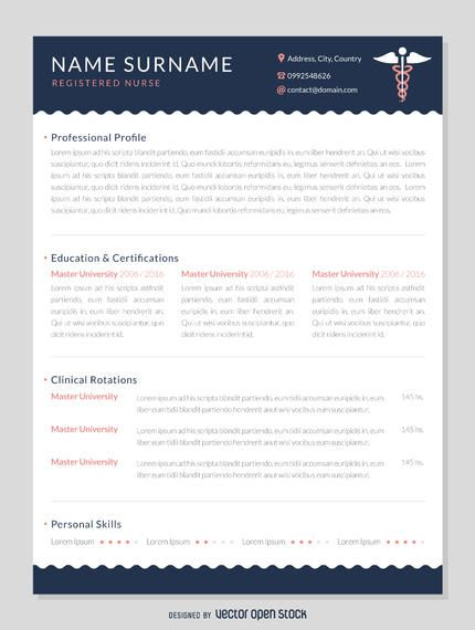 Professional nurse curriculum mockup featuring space for a short profile, contact details, education and certifications, experience, skills, and more. Download it!