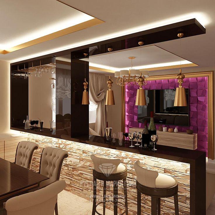 Дизайн барной стойки в столовой комнате  http://www.line-mg.ru/marshala_zaharova_-_stolovaya/