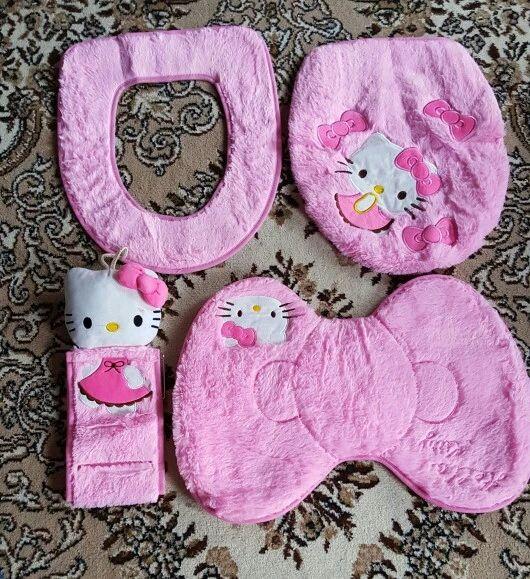 Online-Shop 2015 NEUE Hallo Kitty Bad Sanitär Sitzen Wc Sitzkissen ring + Bodenmatte + Closes Abdeckung + Tissue halter 4 STÜCKE| Aliexpress Mobil