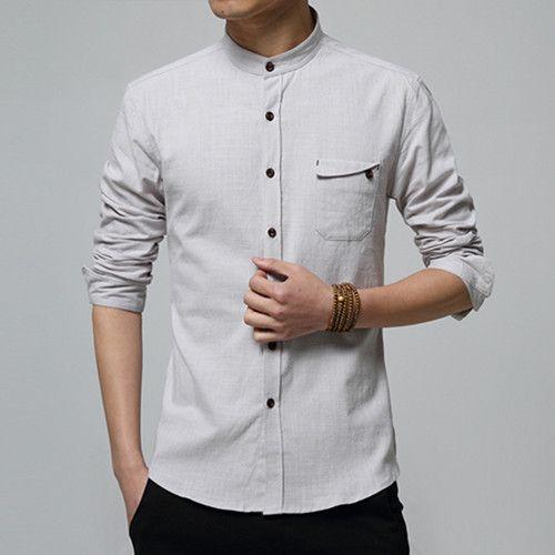 17 best ideas about linen shirts on pinterest linen tops for Collarless white shirt slim fit