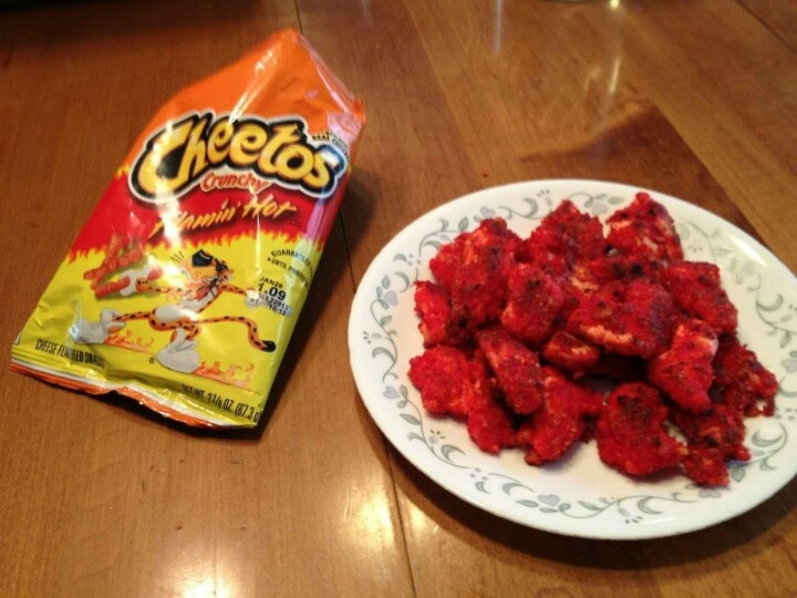 I Had An Extra Bag Of Flaming Hot Cheetos So We Breaded Some Chicken
