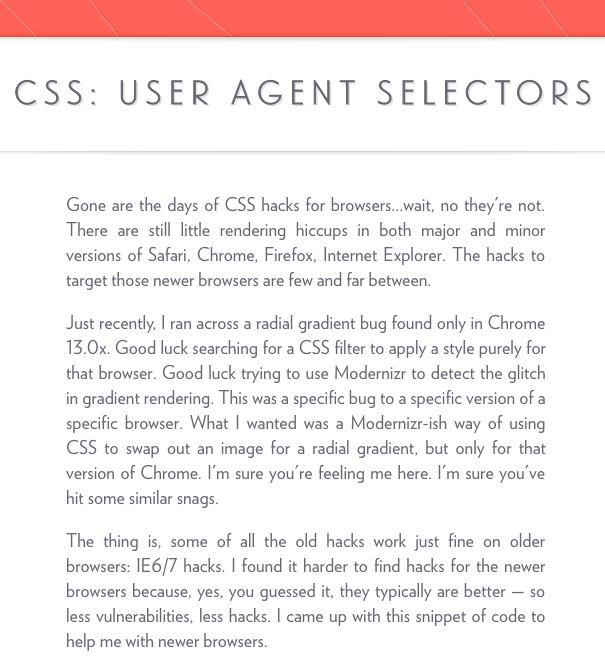 CSS: User Agent Selectors — Rog.ie #browserhack