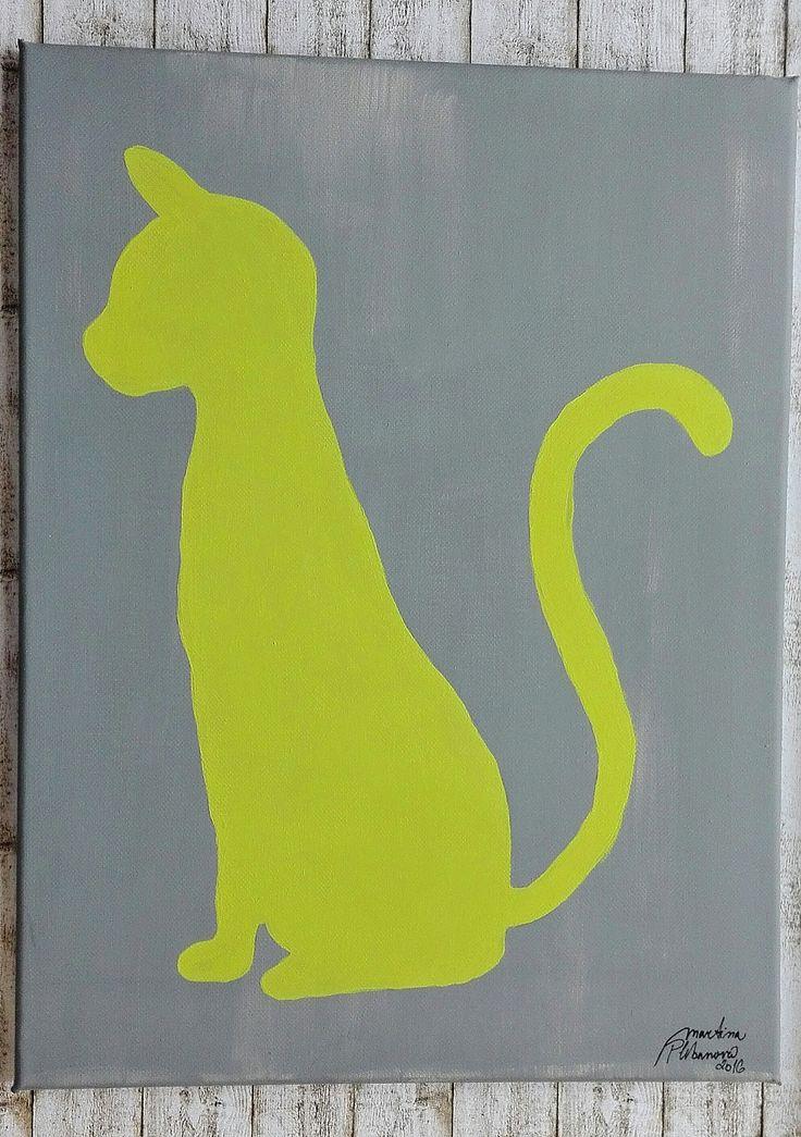 Spring\'s cat ... Jarní kočička (30x40cm) grey and green silhouette ... It!s a spring! My new animal :3 CAT :-)