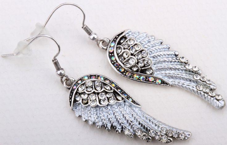 Ange ailes boucles d'oreilles balancent pour les femmes EC23 punk cristal biker bijoux ton argent en gros DROPSHIPPING dans Pendants d'oreilles de Bijoux et accessoires sur AliExpress.com | Alibaba Group