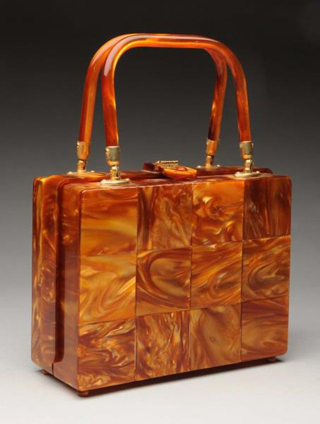 Values for 1950s Vintage Lucite Handbags: Unmarked Copper-colored Lucite Handbag