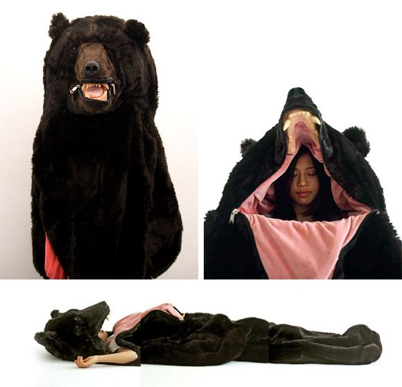 I love how easily this sleeping bag could transition from halloween party to sleepover! Or better yet, curl up next to your friends in the middle of the night on your next camping trip and get ready for a great bar story!