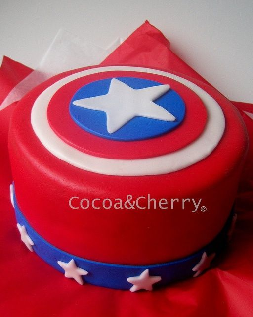 Captain America Cake - Carter's party - Visit to grab an amazing super hero shirt now on sale!