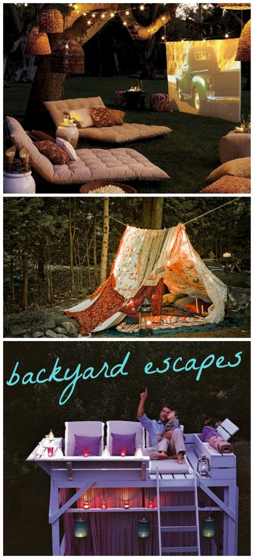 These outdoor spaces are so whimsical! Wish I had a house so I could go make all of them right now. #outdoors #backyard #whimsical #space #lights #tent #treehouse