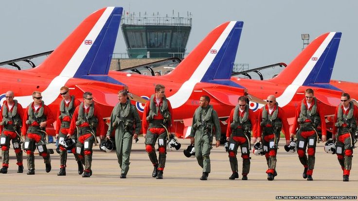 Formula 1 drivers David Coulthard and  Lewis Hamilton join the crew of the Red Arrows
