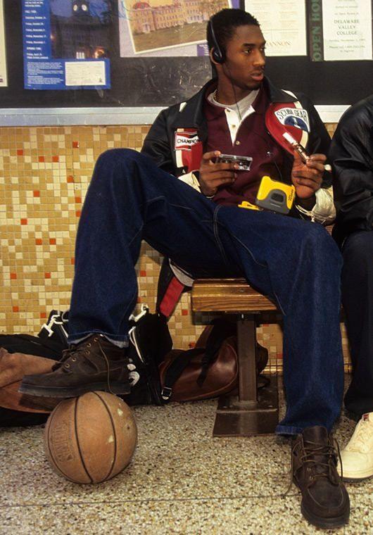 Kobe Bryant in high school with the Walkman.