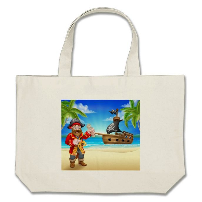 Pirate Cartoon Character on Beach Large Tote Bag  Pirate Cartoon Character on Beach Large Tote Bag  $39.85  by GeoDesign