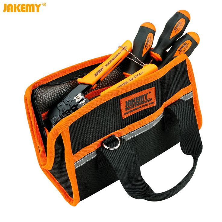 Jakemy B03 Tool Bag Waterproof 600D Fabric Oxford Electrician Tool Bag Storage Case Multi Pocket Pouch 27x15x12cm without tools