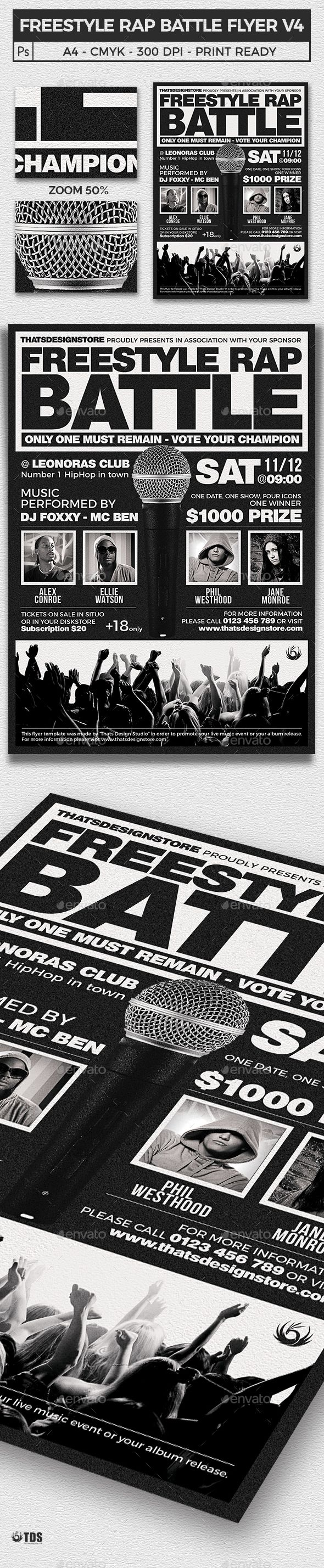 Freestyle Rap Battle Flyer Template V4
