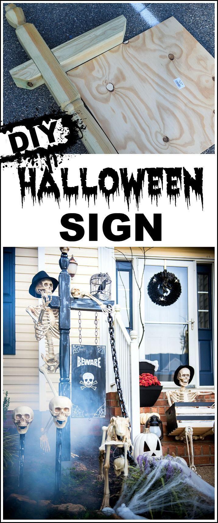 What a spooky front porch! make this large DIY sign yourself! It's super easy and will create a fun scene!