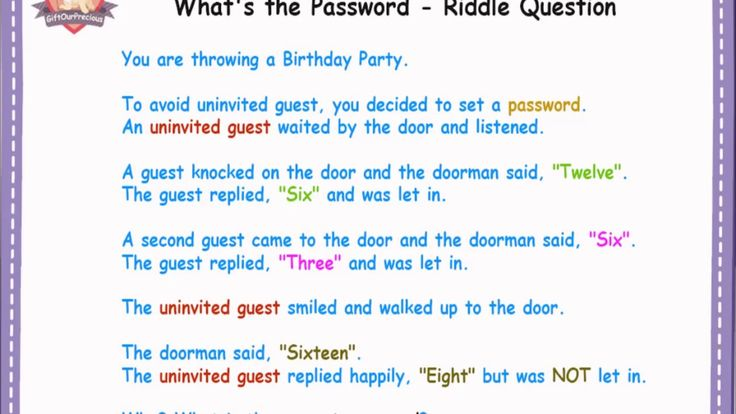 What's the Password - Riddle Questions  https://www.youtube.com/watch?v=2lgck5BQE48&feature=youtu.be  #brainteasers #logic