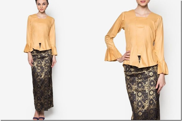 Modern Kebaya Style Ideas For Raya 2016 / gold-flare-sleeve-kebaya