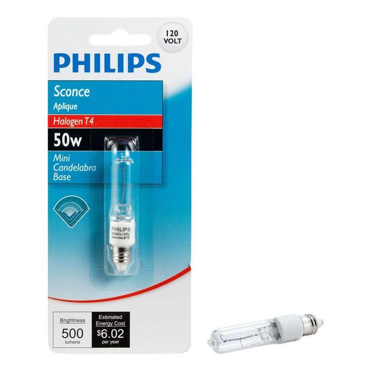 Philips 50-Watt Halogen T4 120-Volt Mini Can Halogen Sconce Dimmable Light Bulb