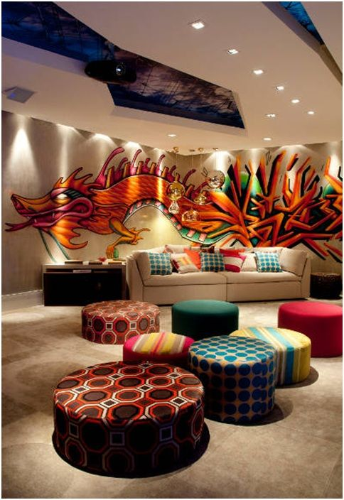 Nice Graffiti Living Room Design Awesome Design