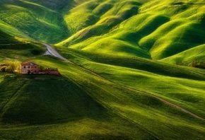 зеленые холмы, дорога, Старая ферма, Pawel Uchorczak