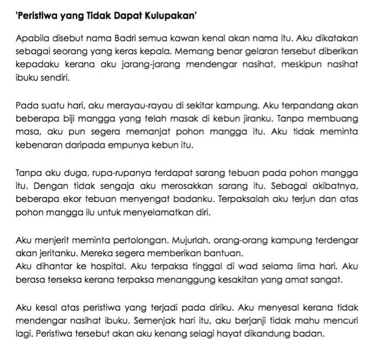 11 Contoh Karangan Upsr Terbaik Bahasa Melayu School Study Tips Study Tips Essay
