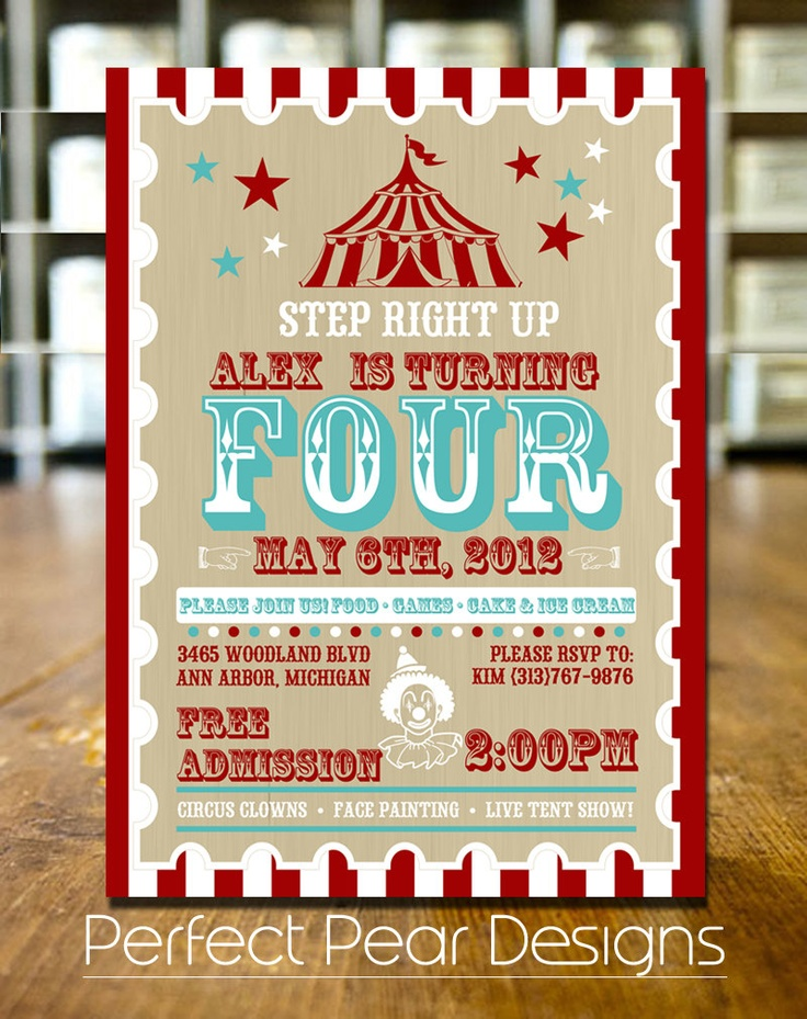 Birthday Party Invitation, Vintage Mod. Circus Poster, Aqua White and Red 5X7 Can be customized for a Boy or Girl (digital DIY Printable). $15.00, via Etsy.