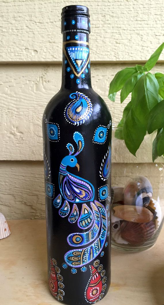 17 best images about project peacock on pinterest free for Painting of a wine bottle