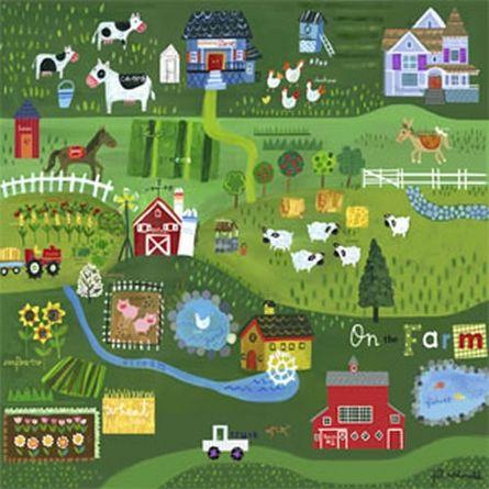 On The Farm Canvas Reproduction