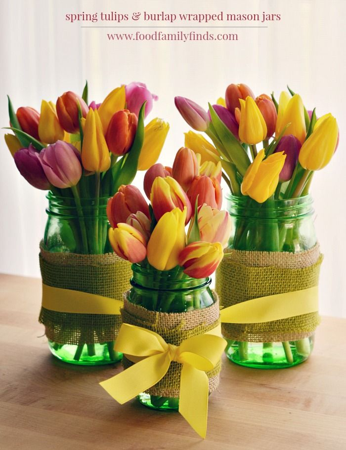 Burlap Tulips And Mason Jar Centerpiece