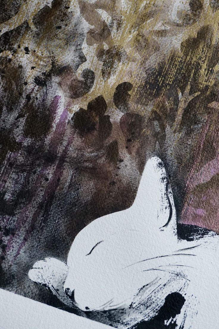 Spáč I. Bezbranný tvoreček, kočička-princezna pod brokátovými tapetami, šelma, co spí... Kombinovaná technika na archu silného ručního papíru cca 60 x 80 cm, vlastní malba 31 x 44 cm. Závěrečný lak s UV filtrem, signováno, datováno 2015. Zasílám jako volný list v kartonovém tubusu, proto vyšší cena poštovného. ...