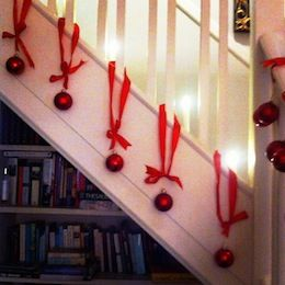 christmas decorations for the staircase. I want to do this for the outside stairs!!!