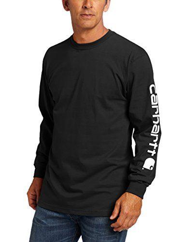 Carhartt Men's Signature Sleeve Logo Long Sleeve T-Shirt Original Fit,Black,Large