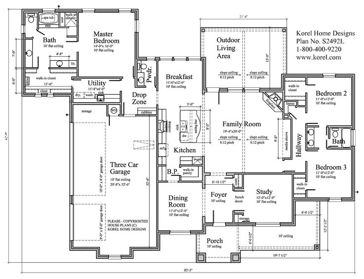 House plans by korel home designs plan number s2492l for House plans by korel home designs