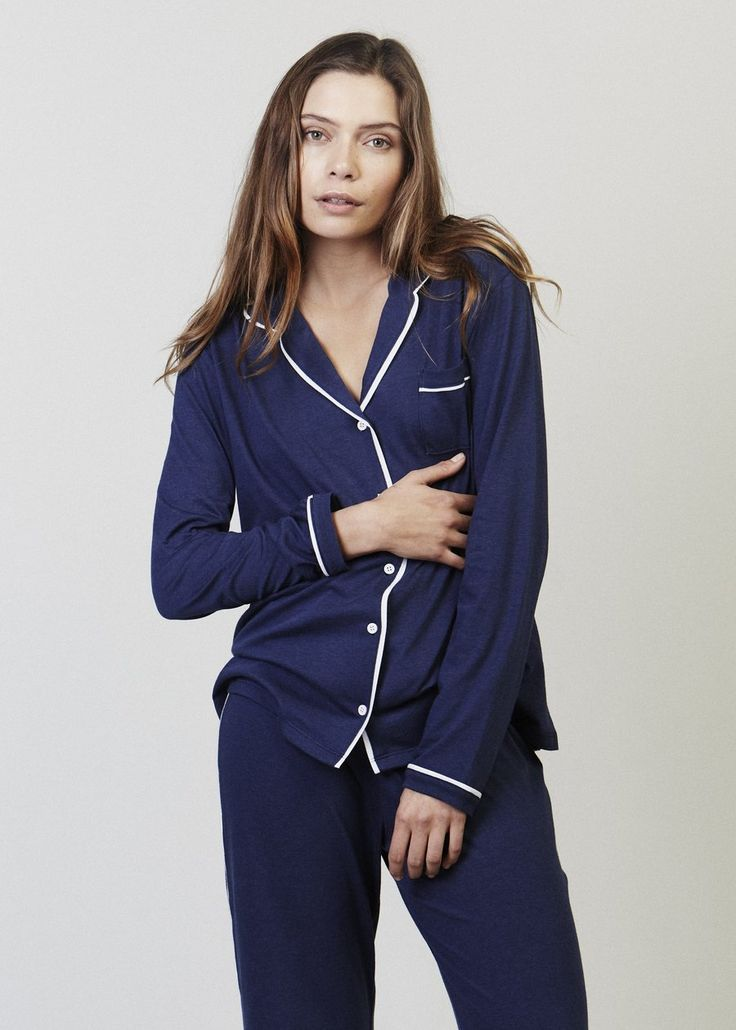 Sophie Long Sleeve Button-Down Pajama Shirt. A long sleeve version of the Sophie top – just as cute except warmer. A comfortably oversized button down pyjama top with a collar and open neckline.