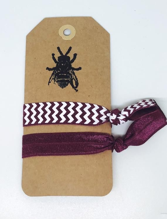 Maroon chevron elastic hair ties - Creaseless hair ties - Knotted hair ties  - Fun prints - Novelty print - Fold over elastic - Stretchy Pack of 2 fun  fold ... b6a09405c12